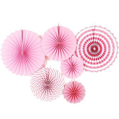 Rosetas / Leques de papel - Rosa (6 unidades)