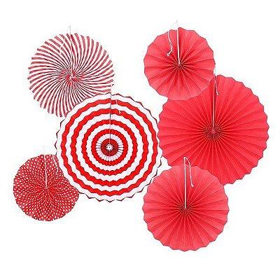 Rosetas / Leques de papel - Vermelho (6 unidades)