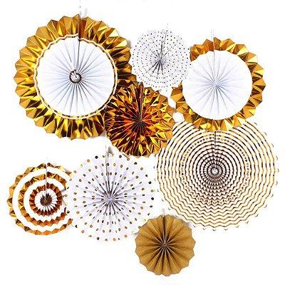 Kit de Rosetas / Leques de papel - Dourado (8 unidades)