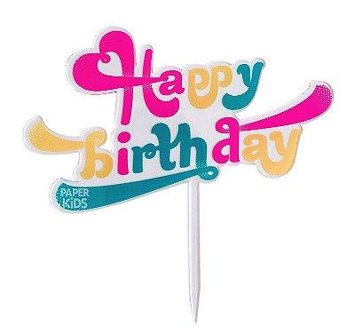Topo acrílico para bolo - Retrô Happy Birthday (1 unidade - Reutilizável)