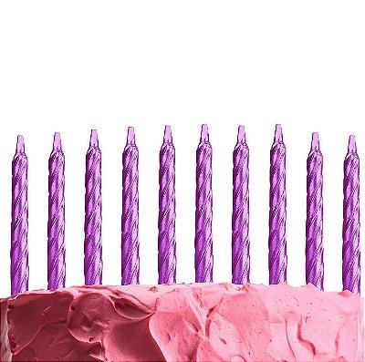 Velas de aniversário palito 8 cm - Roxo metalizado (10 unidades com pezinhos)
