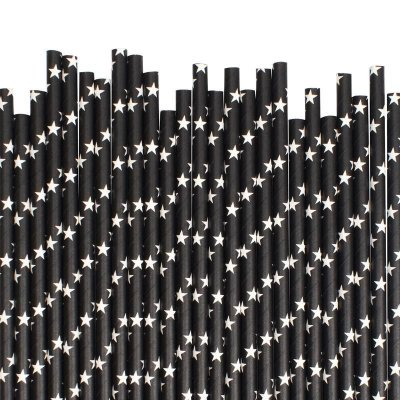 Canudo de papel preto - Estrelas (20 unidades)
