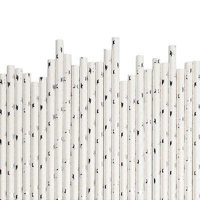 Canudo de papel Estrela prata - 20 unidades