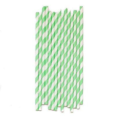 Canudo de papel listras - Verde Menta (20 unidades)