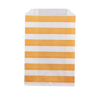 Saquinho de papel listras - Tangerina 12x18 cm (12 unidades)