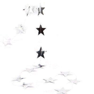 Bandeirola dupla face Estrela - Prata (10 cm diâmetro - aproximadamente 27estrelas e 3.8metros de cordão)