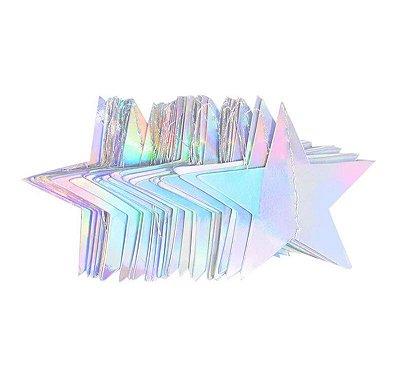 Bandeirola dupla face Estrela - Furta cor (10 cm diâmetro - aproximadamente 27estrelas e 3.8metros de cordão)