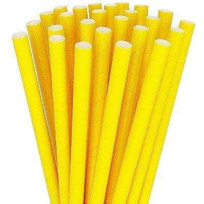 Canudo de papel liso - Amarelo (20 unidades)