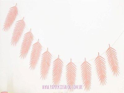 Bandeirola Folhas de Papel (cor rose + cordão)