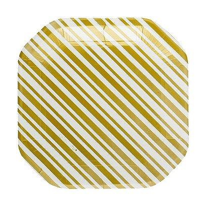 Prato de papel listra - Dourado (21cm - 8 unidades)