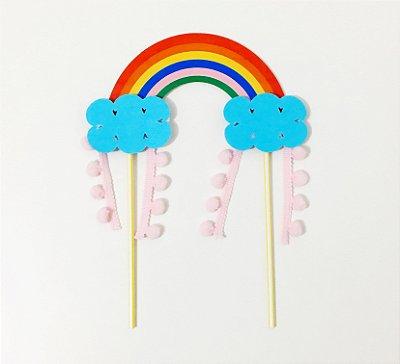 Topo de bolo - Arco-íris/Chuva de Amor (1 unidade)