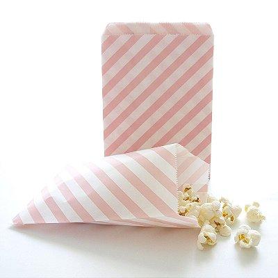 Saquinho de papel listras - Rosa claro 13x18 cm (10 unidades)