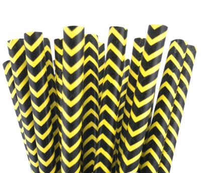 Canudo de papel Chevron preto e amarelo - 20 unidades