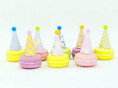 Chapéu de festa decorativo P com pompom - 8 un (5.5x3cm)