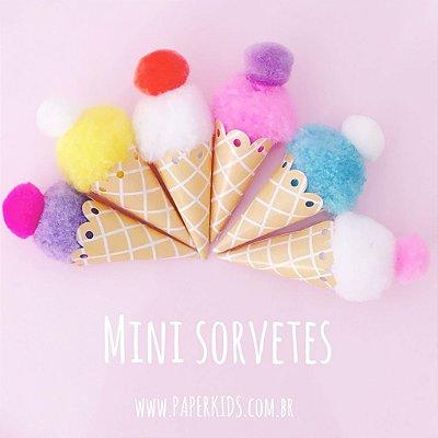 Mini sorvetes de pompom para festa - 6 un (2.5x7cm)