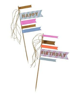 Topo de bolo Happy Birthday - Meri Meri