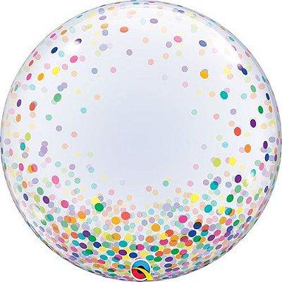 """Balão transparente impressão - Confetes Coloridos 24""""- 61cm (unidade - Bubble)"""