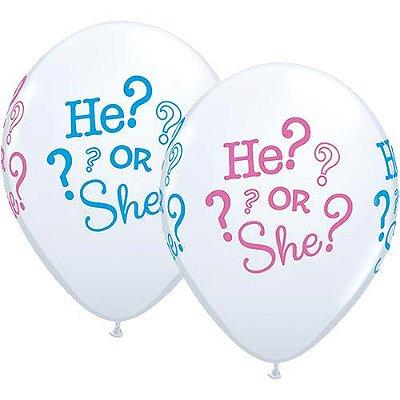 """Balão 11"""" Chá Revelação - Ele? ou Ela? (2 unidades)"""