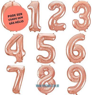 Balão número metalizado Rose Gold gigante - 86cm (escolha seu número)