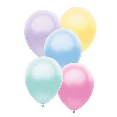 """Balão látex Pastel Perolado 11"""" - 5 cores (5 unidades)"""