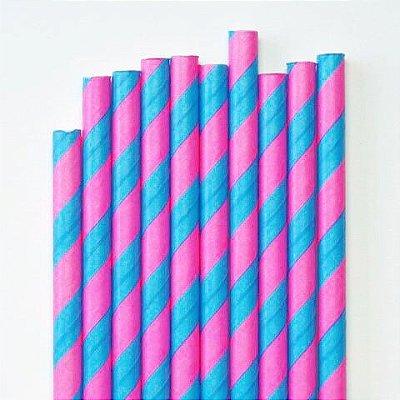 Canudo de papel listrado Pink e Azul - 20 unidades