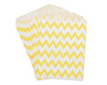 Saquinho de papel chevron - Amarelo 13x18 cm (10 unidades)