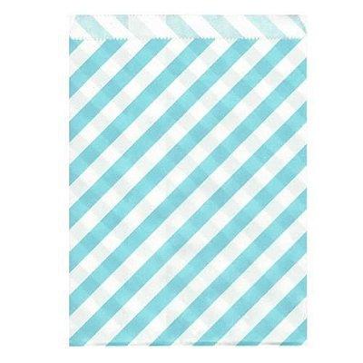 Saquinho de papel listras - Azul claro 13x18 cm (10 unidades)