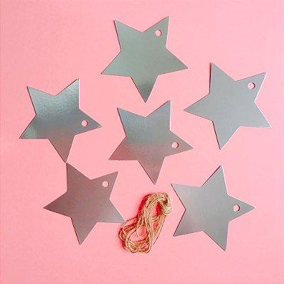 Tag para presente - Estrela prata (12 unidades)