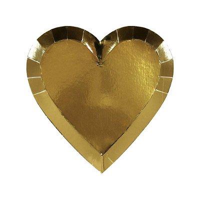 Prato de papel Coração dourado - Meri Meri (8 unidades)