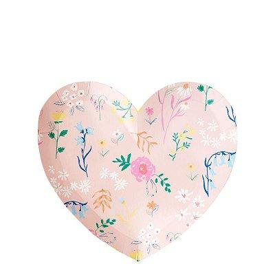 Prato Coração Floral - Meri Meri (12 unidades)