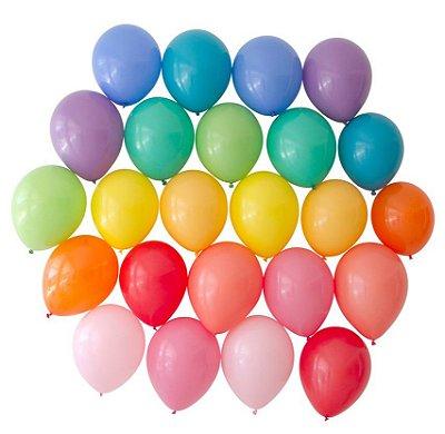 "Kit balões 11"" - 12 Cores ARCO-ÍRIS (24 un)"