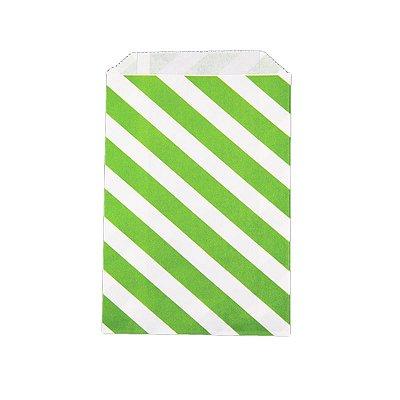 Saquinho de papel listras - Verde 12x18 cm (12 unidades)