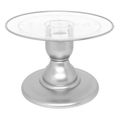 Boleira transparente Filete - Prata (13.5 cm h x 22 cm)