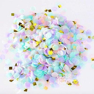 Mix confetes tons pastel e dourado - 1cm (10g)