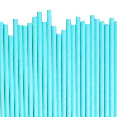Canudo de papel liso - Azul Claro (20 unidades)