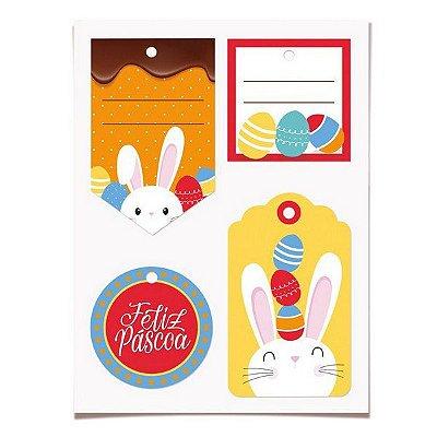Tags decorativas - Páscoa (12 un com cordão)
