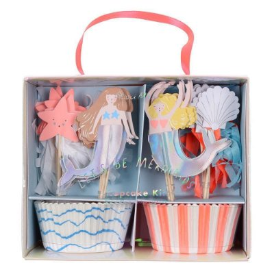 Kit cupcake festa Sereia/Fundo do Mar - 24 pins + 24 formas
