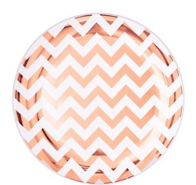 Prato de papel - Chevron Rose Gold (10 un)