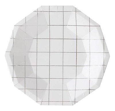 Prato branco - Grid Prata (10 un)