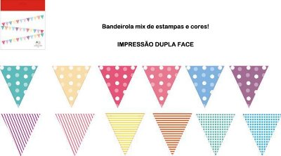 Bandeirola - Mix de cores e estampas (12 peças)