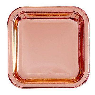 Prato de papel quadrado - Rose Gold (8 unidades - 18 cm)