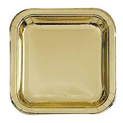 Prato de papel - Dourado (8 unidades - 18 cm)