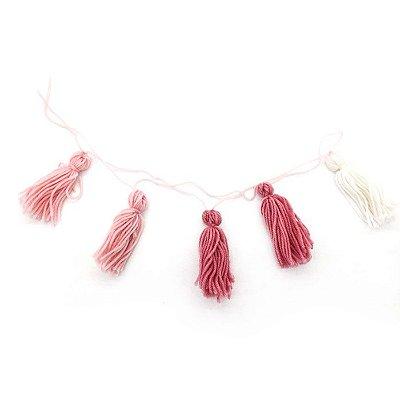 Guirlanda tassel - Tons de rosa e branco (5 peças - 1m)