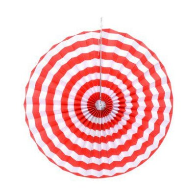 Leque de papel - Vermelho e Branco (40 cm)