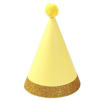 Chapéu com pompom - Amarelo e Dourado (6 un - 15cm h) *NECESSITA MONTAGEM