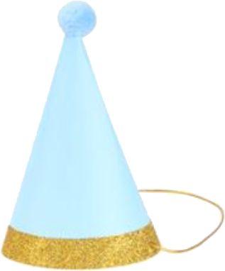 Chapéu com pompom - Azul e Dourado (6 un - 15cm h) *NECESSITA MONTAGEM