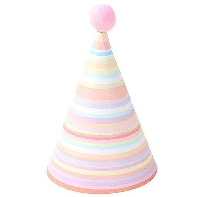 Chapéu com pompom - Listras Candy Color (6 un - 15cm h) *NECESSITA MONTAGEM