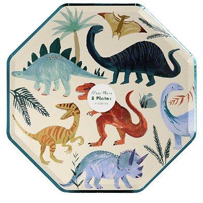 Pratos Meri Meri - Reino dos Dinossauros (8 unidades - 26 cm)