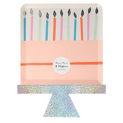 Prato de papel Bolo de Aniversário - Meri Meri (8 un - 19x24.5 cm)