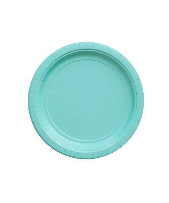Pratinho de papel - Azul Piscina 18 cm (8 unidades)